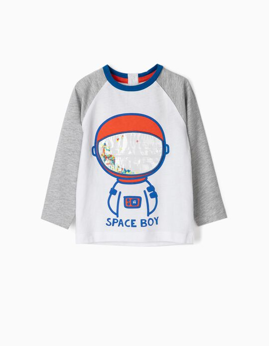 Long Sleeve Top for Baby Boys 'Space Boy', White/Grey