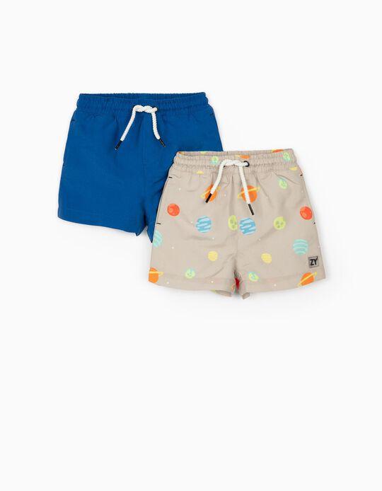 2 shorts de bain bébé garçon 'Planets', beige/bleu