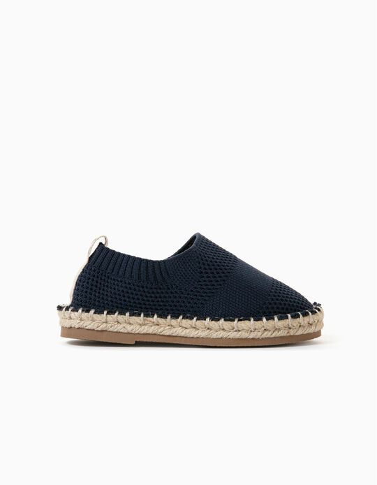 Knitted Slip-On Shoes for Baby Boys, Dark Blue