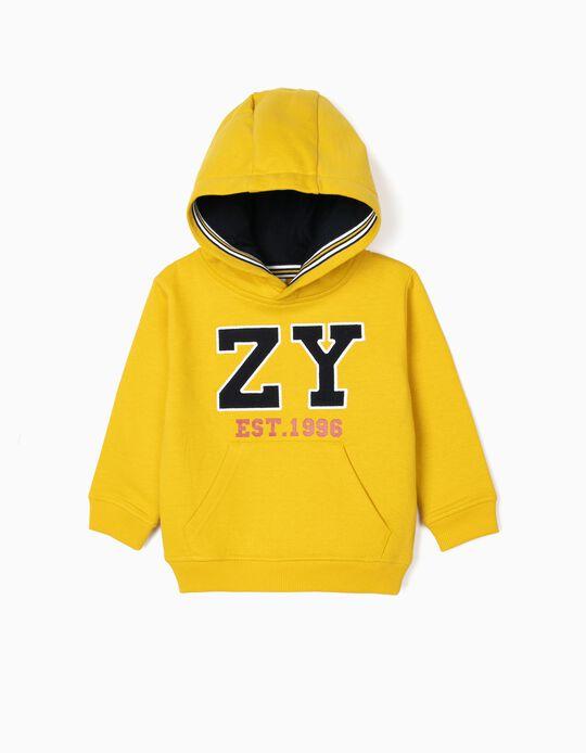 Sweatshirt com Capuz para Bebé Menino 'ZY 1996', Amarelo