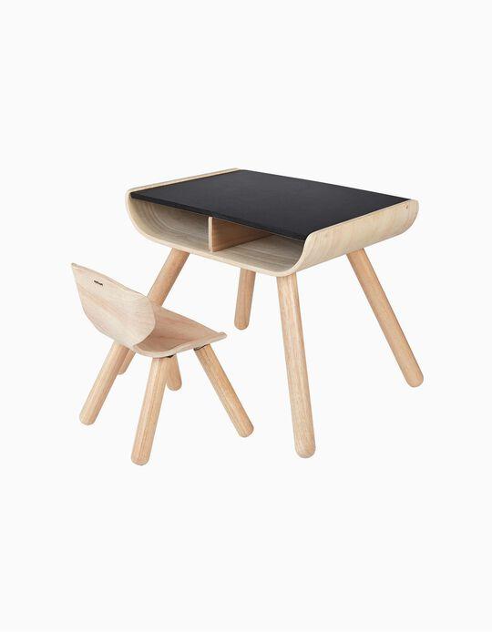 Mesa E Cadeira Em Madeira Plan Toys 3A+ Preto