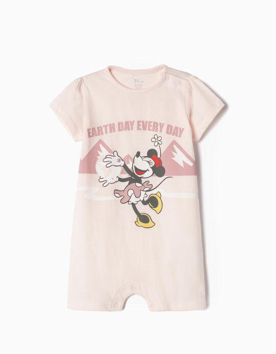Pelele Algodón Orgánico para Bebé 'Minnie Earth Day', Rosa