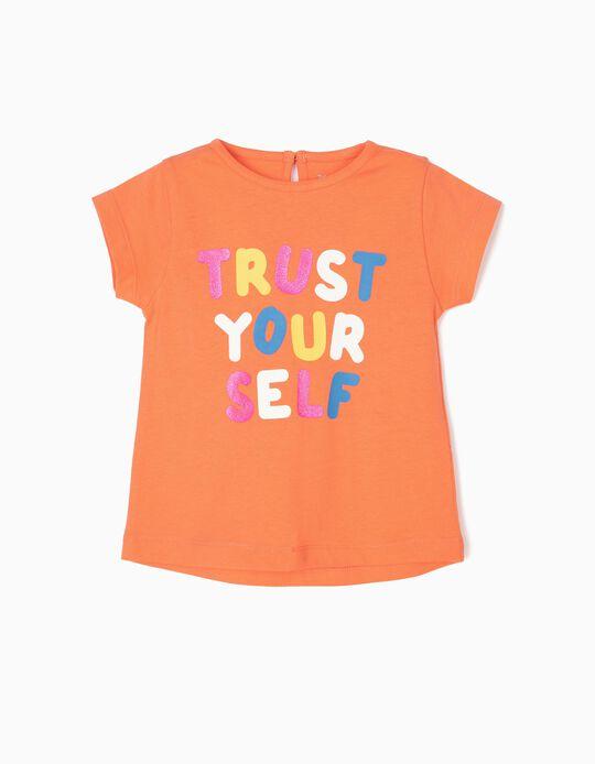 T-shirt para Bebé Menina 'Trust Yourself', Laranja