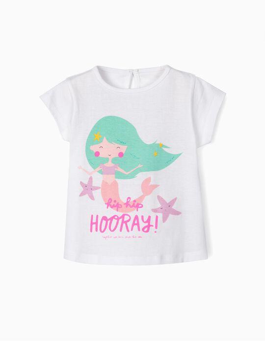 Camiseta para Bebé Niña 'Horray!', Blanca