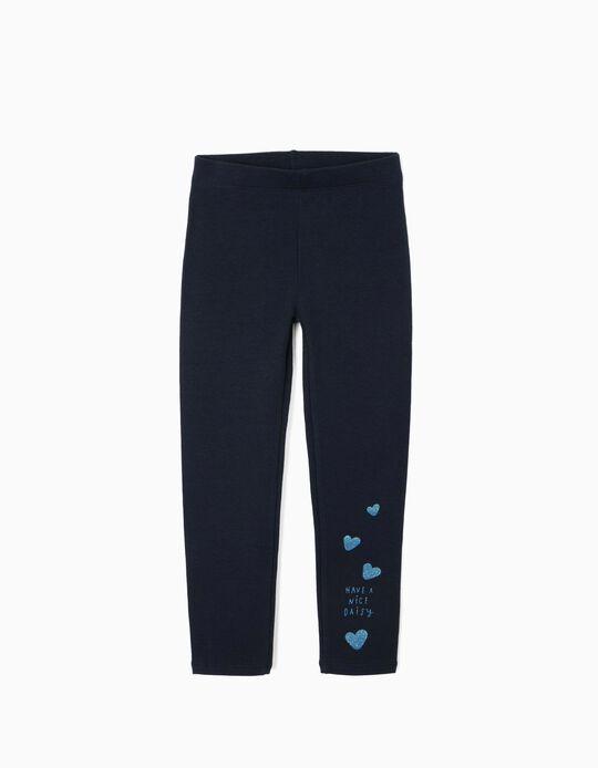 Leggings Cardadas para Menina 'Daisy', Azul Escuro