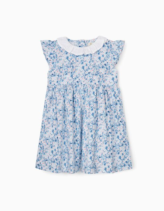 Floral Dress for Baby Girls, Blue