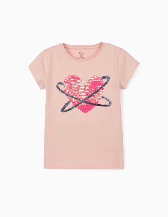 T-shirt for Girls, 'Space Heart', Pink