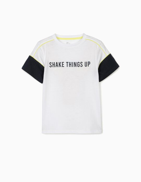 T-Shirt for Boys, 'Shake Things Up', White