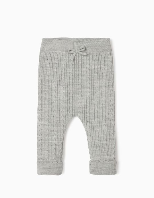 Knitted Trousers for Newborn Baby Girls, Grey