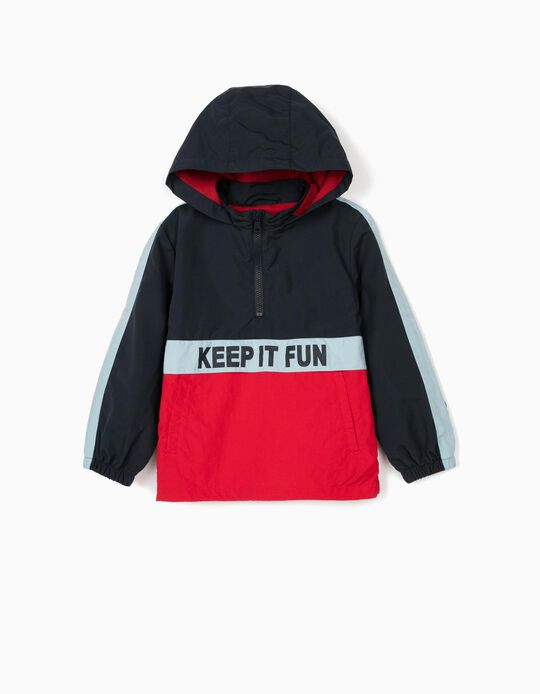 Windcheater for Boys, 'Keep it Fun', Blue/Red
