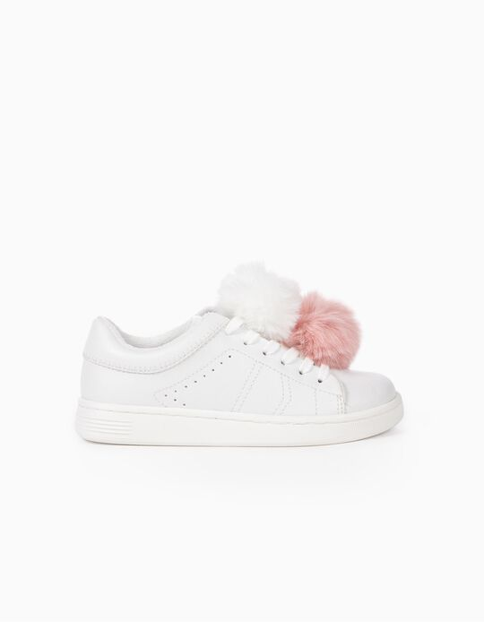 Trainers with Fluffy Pompoms for Girls 'ZY 96', White