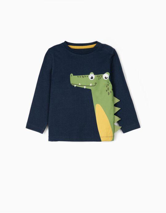T-shirt Manga Comprida para Bebé Menino 'Croc', Azul