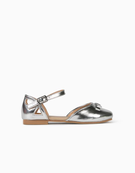 Open Ballet Pumps for Girls, Silvery
