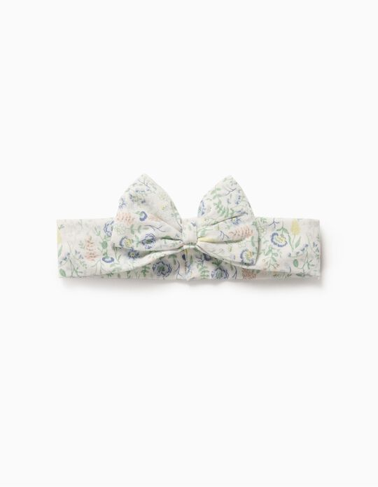 Floral Hairband for Girls, White