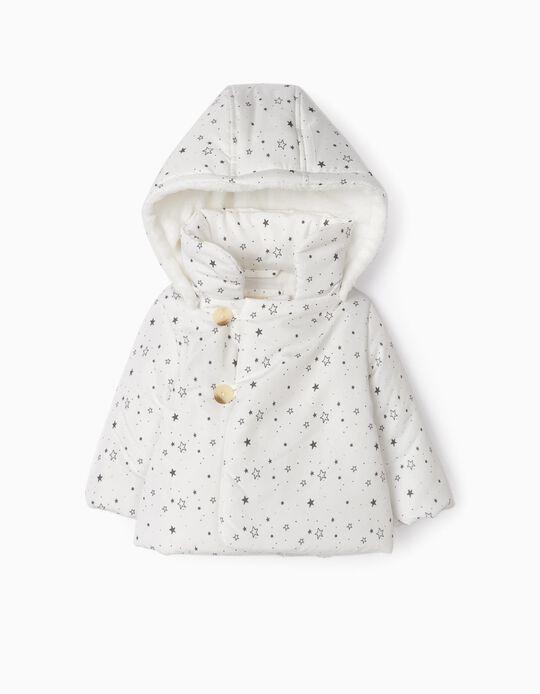 Gilet à capuche nouveau-née 'Stars', blanc/gris