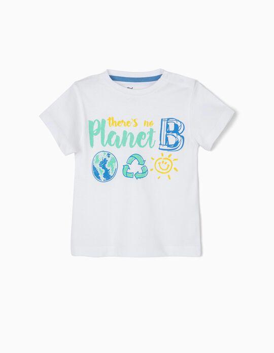 T-shirt para Bebé Menino 'No Planet B', Branco
