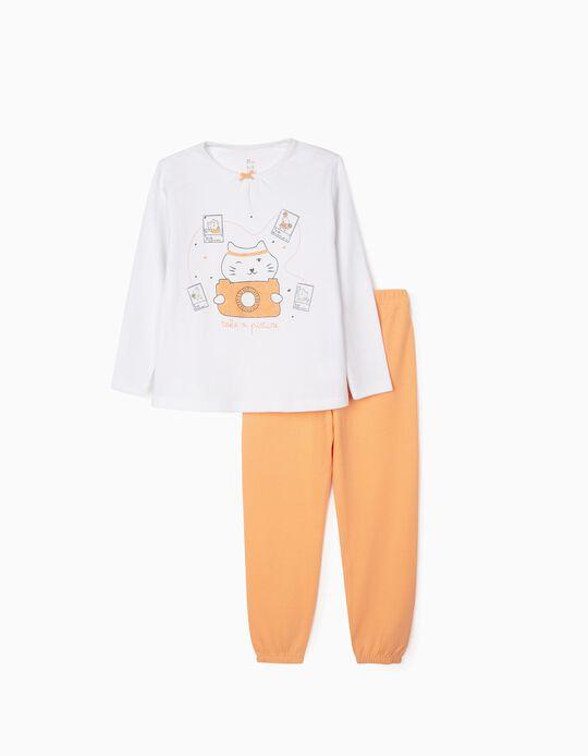 Pyjamas for Girls, 'Picture', White/Orange
