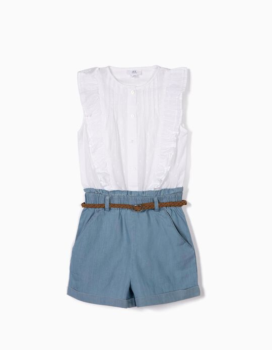 Combined Romper for Girls, White and Blue