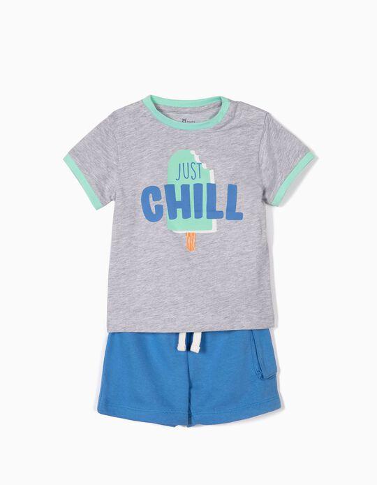 Camiseta y Short para Bebé Niño 'Just Chill', Gris y Azul