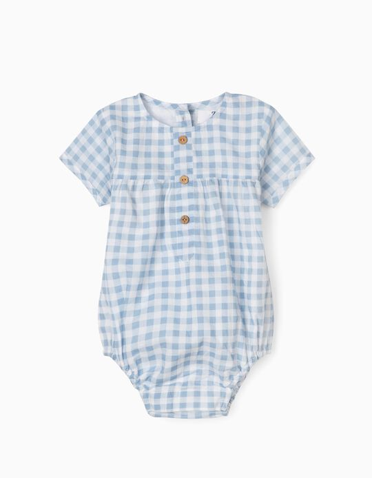 Gingham Jumpsuit for Newborn Baby Boys, White/Blue