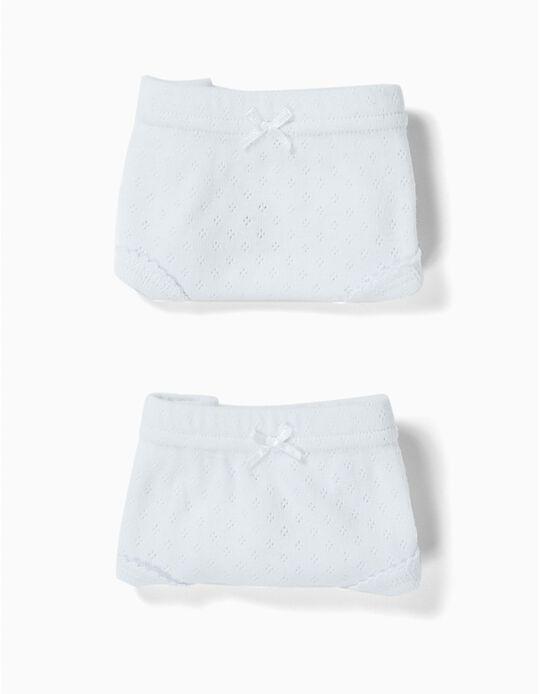 2 Cuecas com Textura para Menina, Branco