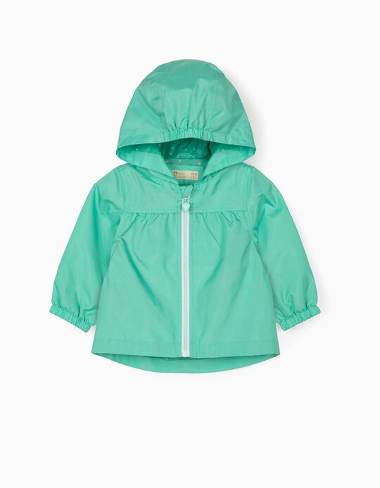Hooded Parka for Baby Girls, Aqua Green