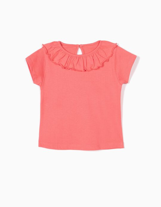 T-shirt para Bebé Menina com Folho, Rosa