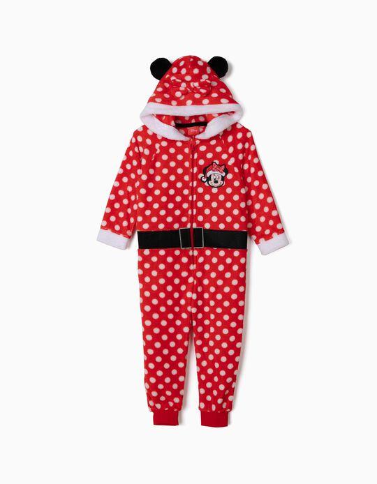 Pijama Mono para Niña 'Minnie Christmas' con Capucha, Rojo