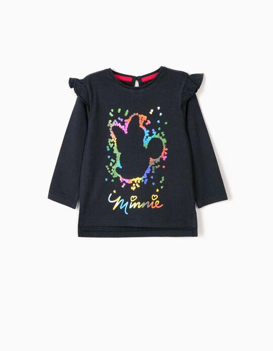 T-shirt Manga Comprida para Bebé Menina 'Minnie', Azul Escuro