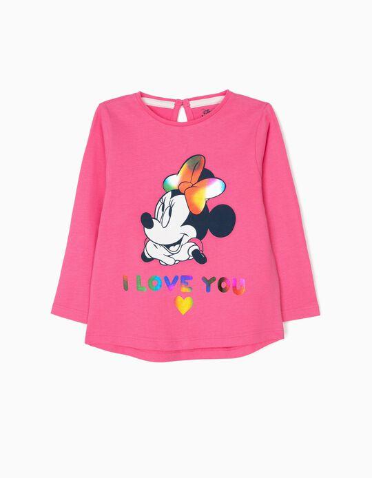Camiseta de Manga Larga para Bebé Niña 'Minnie Love', Rosa