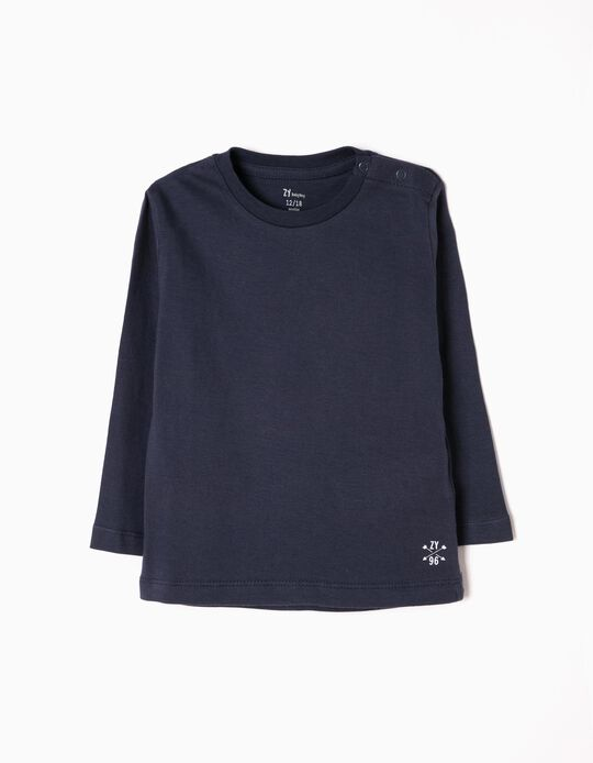 Camiseta de Manga Larga Básica Azul