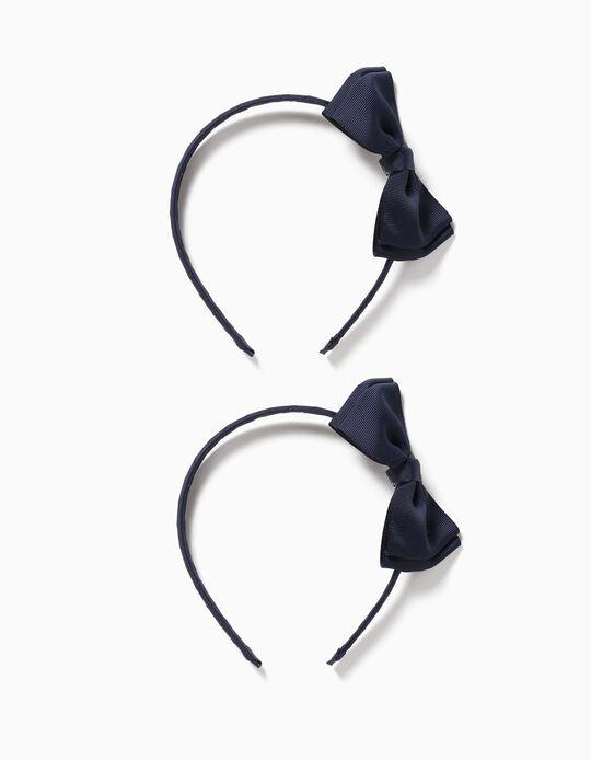 2 Diademas con Lacito para Niña, Azul Oscuro/Azul Claro
