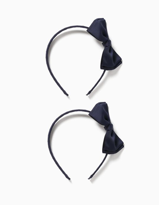 2 serre-tête avec nœud fille, bleu foncé/bleu clair
