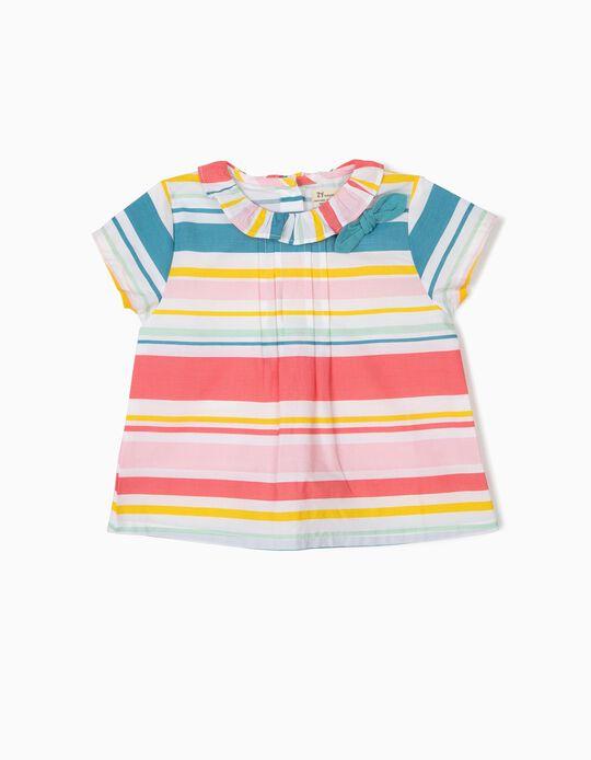 Blusa para Bebé Menina Riscas, Multicolor