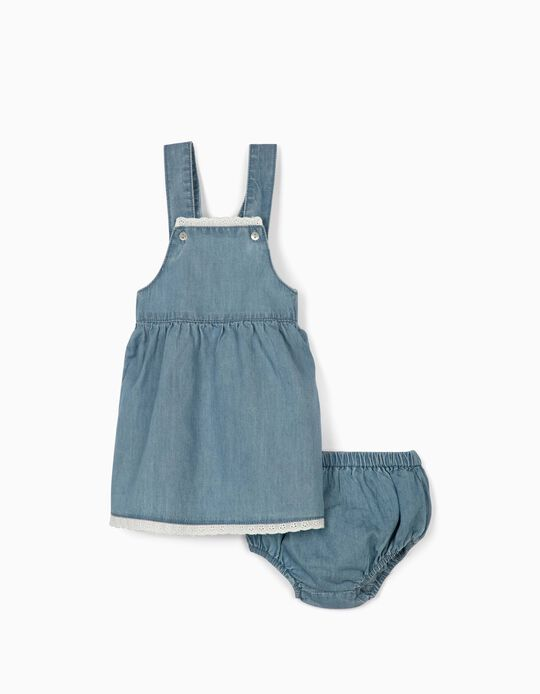 Pinafore Dress & Bloomer Shorts for Newborn Baby Girls, 'Comfort Denim', Blue