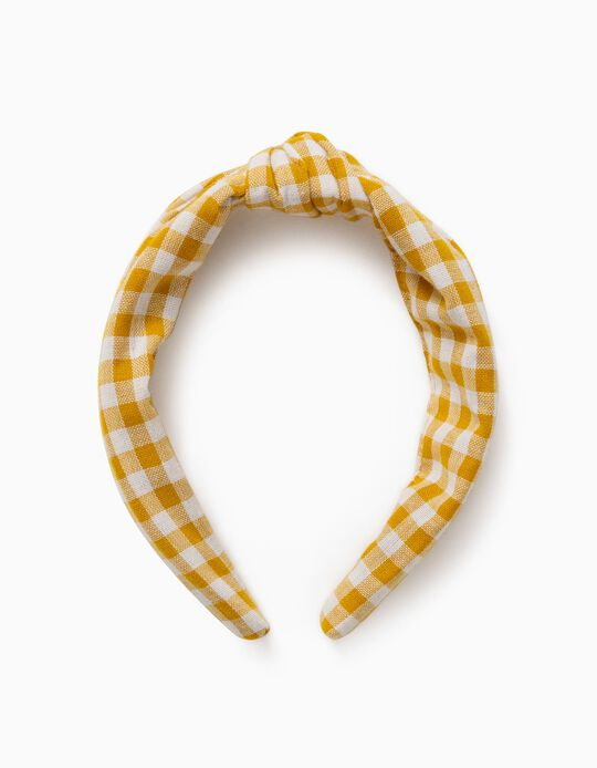Gingham Alice Band for Girls, Yellow/White