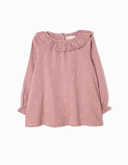 Blusa Menina Bambula Estrelas Rosa
