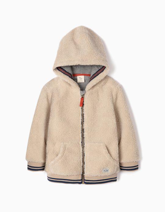 Fluffy Jacket for Boys, Beige