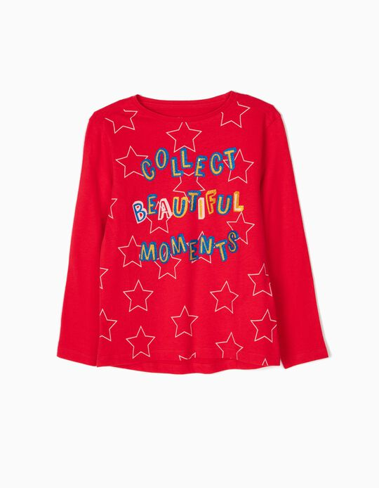 Camiseta de Manga Larga Glitter Text Rojo