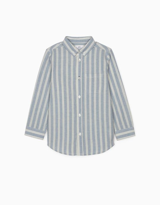 Striped Shirt with Linen for Boys, White/Blue
