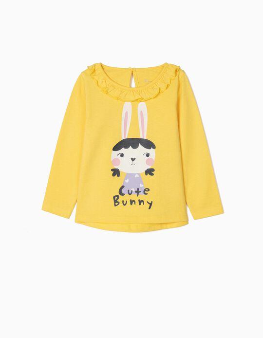 T-shirt Manga Comprida para Bebé Menina 'Cute Bunny', Amarelo