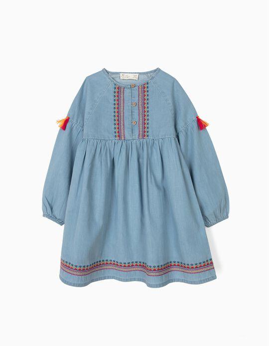 Vestido de Ganga para Menina com Bordados e Borlas, Azul