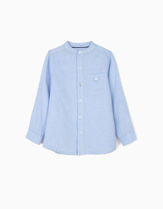 Camisa para Niño con Cuello Mao, Azul