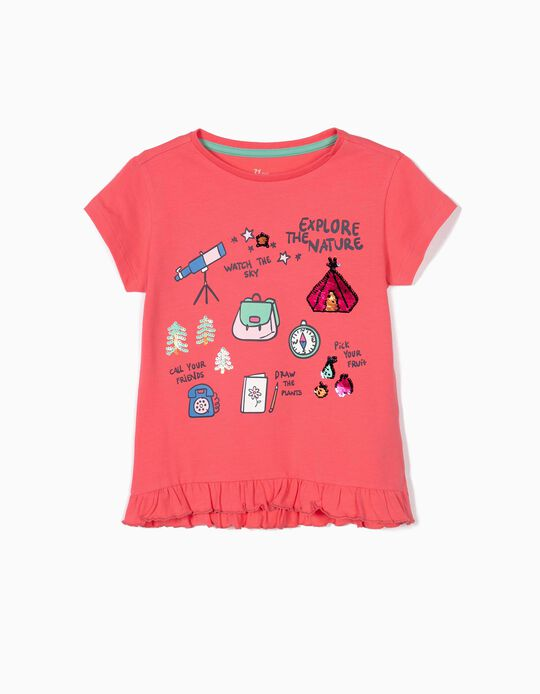 T-shirt fille 'Explore the Nature', corail