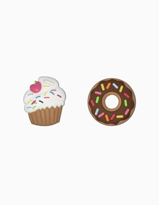 2 Mordedores de Silicone Cupcake & Donut Silli Chews