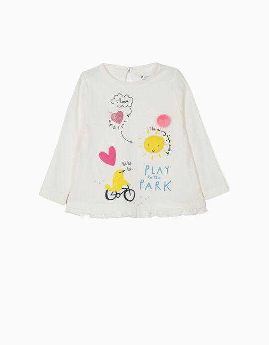Camiseta de Manga Larga para Bebé Niña 'Play Park', Blanca