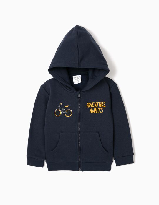 Hooded Jacket for Baby Boys 'Adventure Awaits', Dark Blue