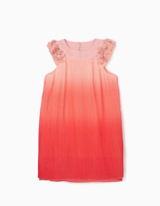 Vestido Plissado para Menina, Rosa