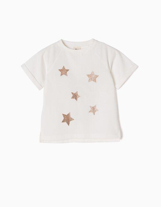 Camiseta Blanca con Estrellas de Purpurina