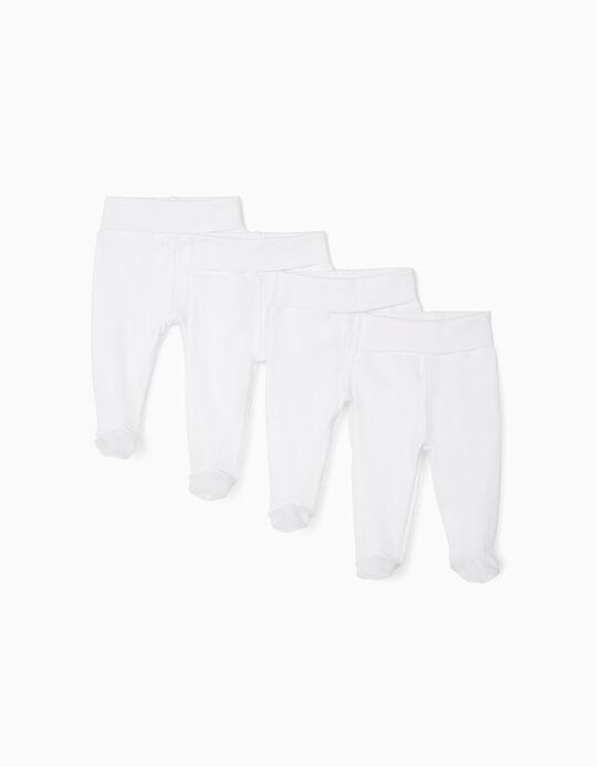 4 Pantalones con Pies para Recién Nacido, Blanco